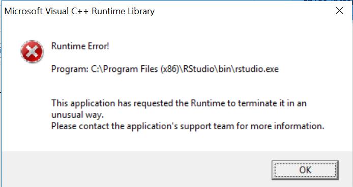Microsoft Visual C++ Runtime Error - RStudio IDE - RStudio