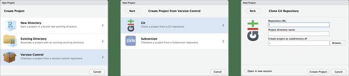 New RStudio Project Clone Git Repo