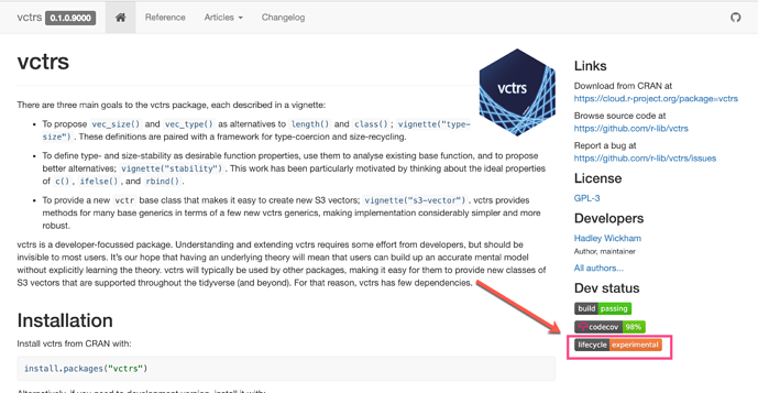 lifecycle experimental vctrs site