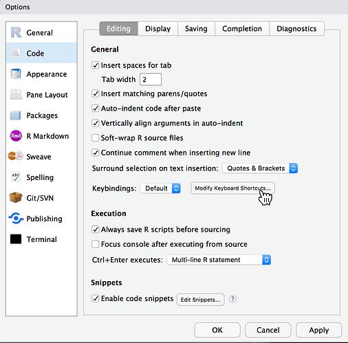 RStudio Preferences Code Editing interface
