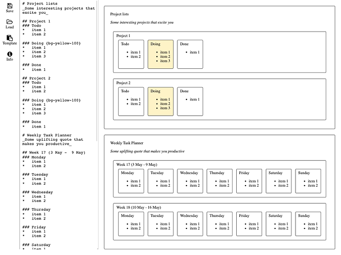 Screenshot of the Markdown organiser app, showing the markdown code on the sidebar and the rendered output in the main panel.