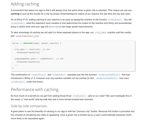 Screenshot of sections in caching article