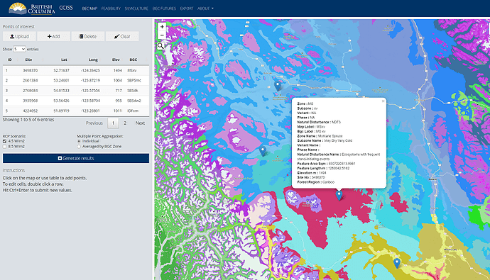 Screenshot of the Shiny app for climate change informed tree species selection. Sidebar shows the data and main panel shows a map with information on a point on the map.