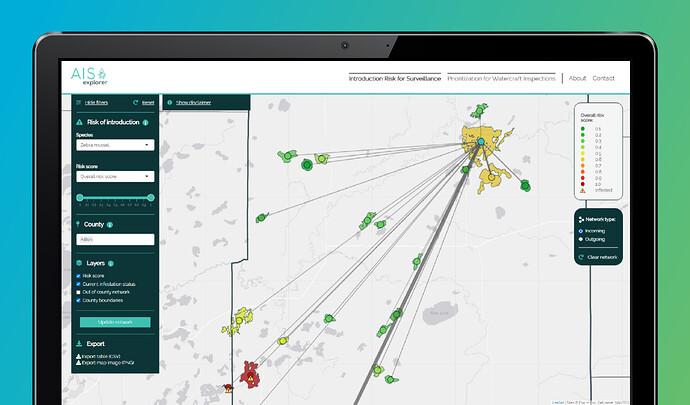 Screenshot of University of Minnesota's AIS Explorer, 2021