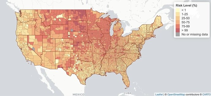 snapshot of COVID-19 Event Risk Assessment Planning Tool shiny application, map of US with risk level percentage per county shown in range of yellow to red