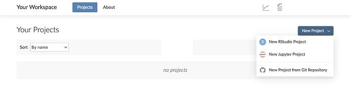 Screenshot of new Jupyter notebook project option in RStudio Cloud