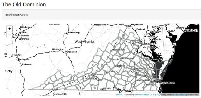 reactive map of Virginia