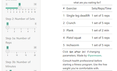 random workout plan generator - smaller