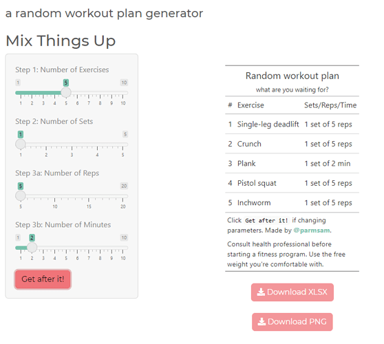 random workout plan generator