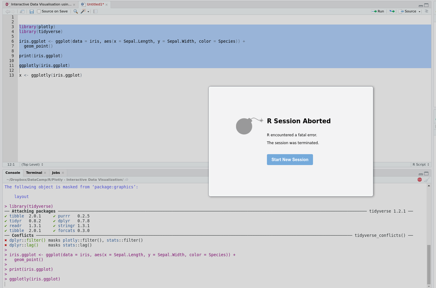 ggplotly function on ggplot2 object crashes R & RStudio