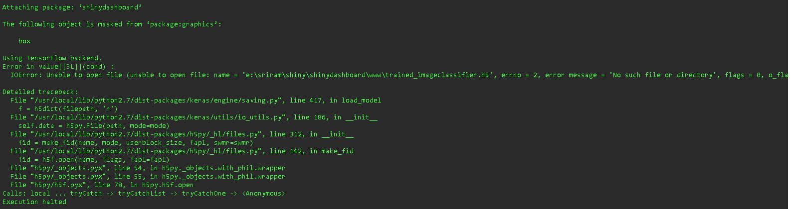 Error when starting Shiny App with keras model - shiny - RStudio