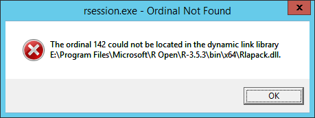 RStudio 1 2 1335, Windows Server 2012 R2, Microsoft R Open