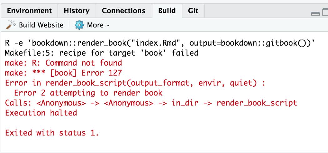 Building a Bookdown book fails with Error 127 - RStudio