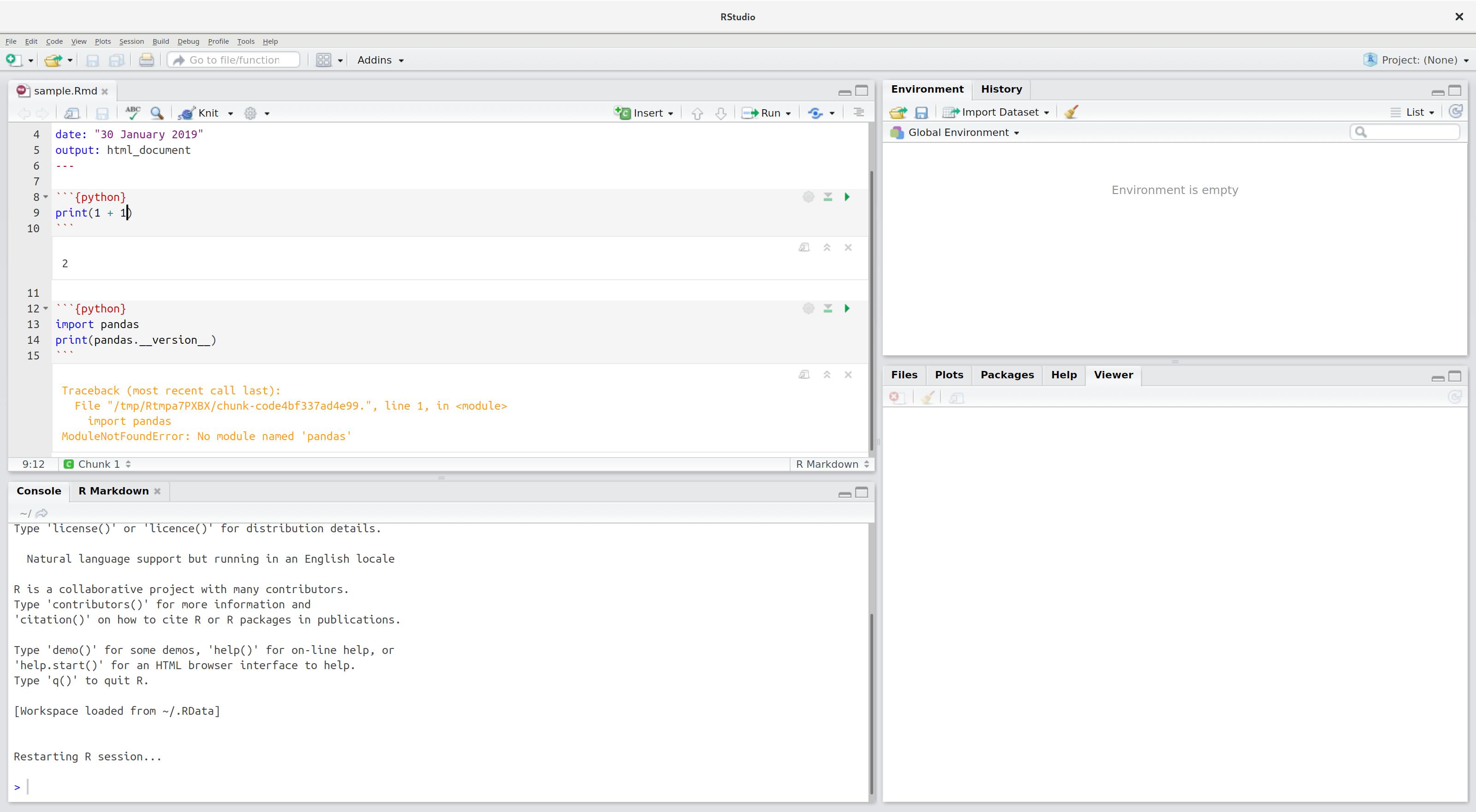 Run current Python chunk - RStudio IDE - RStudio Community