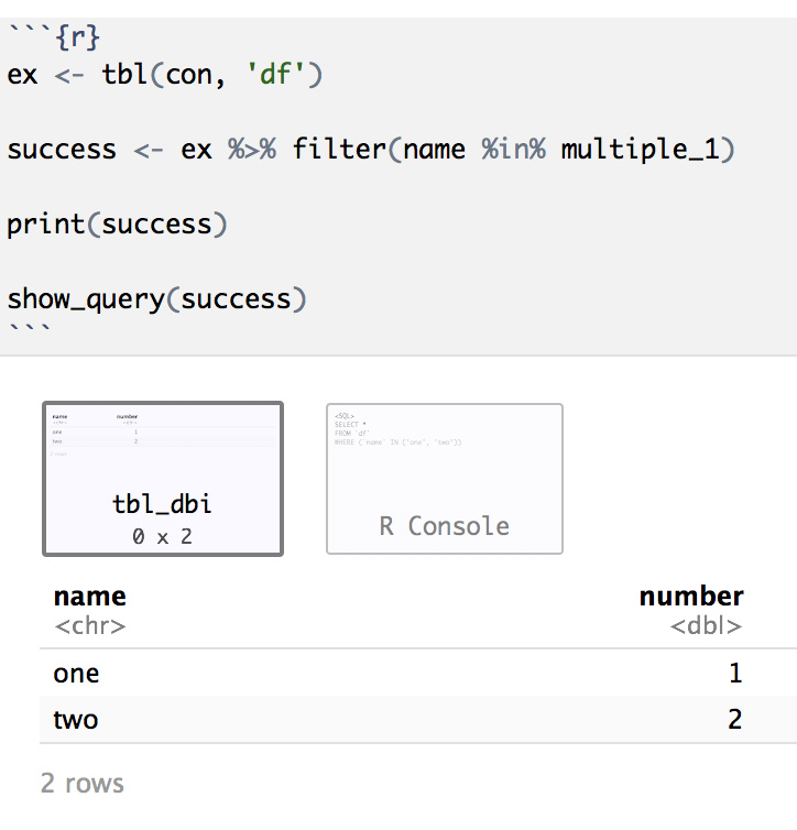 Using multiple R variables in SQL chunk - R Markdown