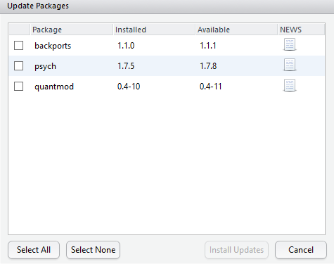 How does R Studio source the list of packages available for update