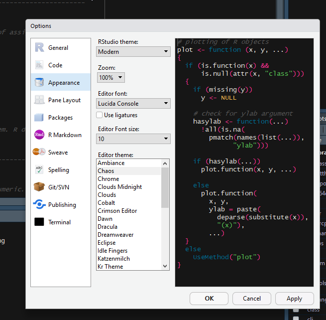 No option to add or remove Themes - RStudio IDE - RStudio