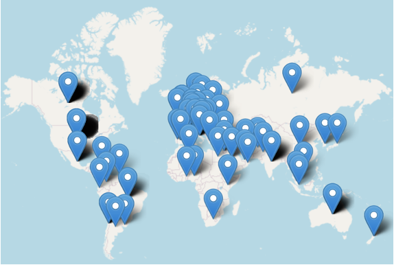 Global map with locations of R Medicine registrants indicated